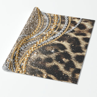 Beautiful trendy girly leopard animal print wrapping paper