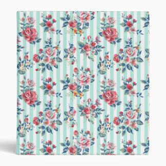 Beautiful trendy girly vintage blue stripes roses 3 ring binders