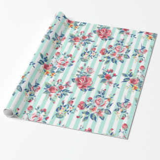 Beautiful trendy girly vintage blue stripes roses wrapping paper