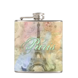 Beautiful trendy girly vintage Eiffel Tower France Hip Flasks