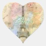 Beautiful trendy girly vintage Eiffel Tower France Heart Sticker