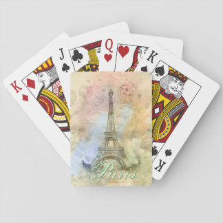 Beautiful trendy girly vintage Eiffel Tower France Playing Cards