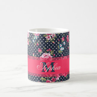 Beautiful trendy girly vintage monogram  floral coffee mug