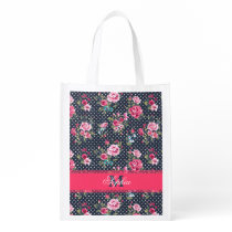 Beautiful trendy girly vintage monogram floral reusable grocery bag