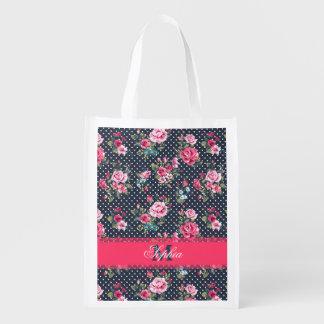Beautiful trendy girly vintage monogram floral reusable grocery bag
