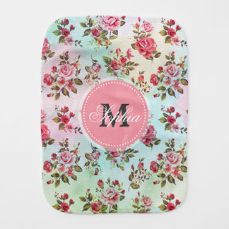 Beautiful trendy girly vintage monogram  roses baby burp cloth