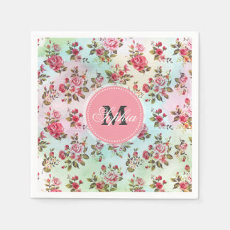 Beautiful trendy girly vintage monogram  roses standard cocktail napkin