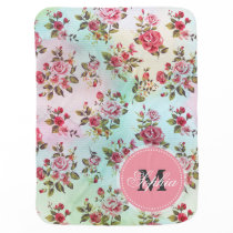 Beautiful trendy girly vintage monogram  roses stroller blanket