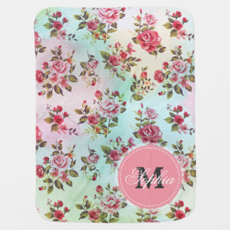 Beautiful trendy girly vintage monogram  roses stroller blanket