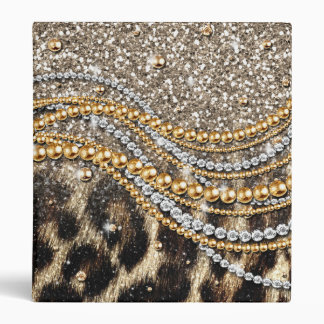 Beautiful trendy leopard faux animal print binder