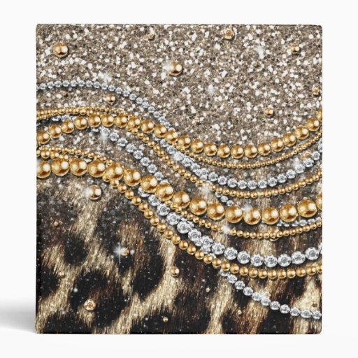 Beautiful trendy leopard faux animal print 3 ring binder