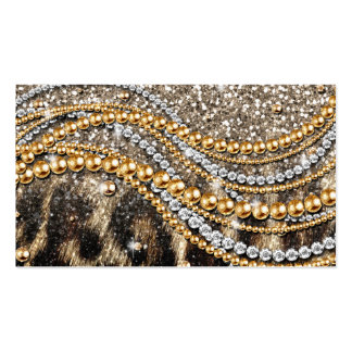 Beautiful trendy leopard faux animal print Double-Sided standard business cards (Pack of 100)