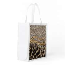 Beautiful trendy leopard faux animal print grocery bag