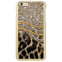 Beautiful trendy leopard faux animal print incipio feather shine iPhone 6 plus case