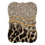 Beautiful trendy leopard faux animal print custom announcement