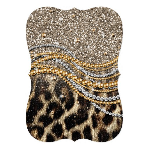 Beautiful trendy leopard faux animal print custom announcement