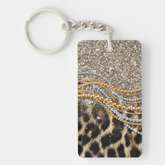 Beautiful trendy leopard faux animal print keychain