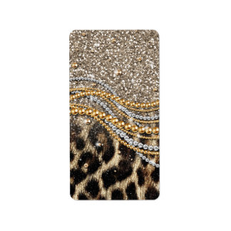 Beautiful trendy leopard faux animal print labels