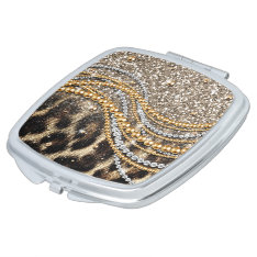 Beautiful Trendy Leopard Faux Animal Print Makeup Mirror at Zazzle