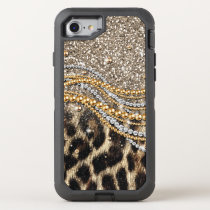Beautiful trendy leopard faux animal print OtterBox defender iPhone 7 case