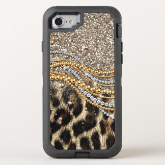 Beautiful trendy leopard faux animal print OtterBox defender iPhone 8/7 case