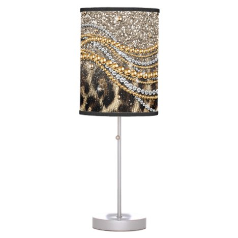 Beautiful Trendy Leopard Faux Animal Print Table Lamp