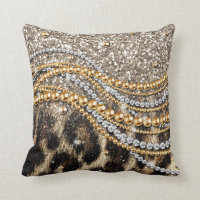 Beautiful trendy leopard faux animal print throw pillow