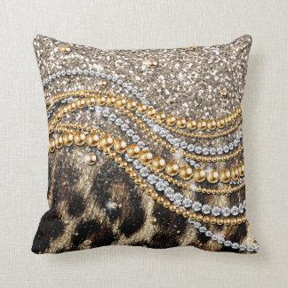 Beautiful trendy leopard faux animal print throw pillow