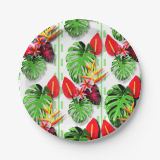 Beautiful Trendy Tropical Leaf Flower Theme Paper Plate