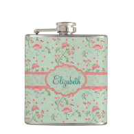 Beautiful trendy vintage floral and flamingo birds flask
