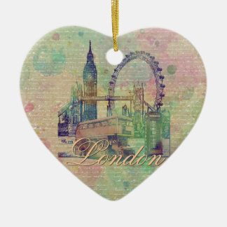 Beautiful trendy Vintage London Landmarks Ceramic Ornament