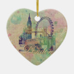 Beautiful trendy Vintage London Landmarks Double-Sided Heart Ceramic Christmas Ornament