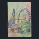 """Beautiful trendy Vintage London Landmarks Towel<br><div class=""""desc"""">Beautiful trendy Vintage London Landmarks soft pastel colours, watercolours splatters antique effects, green, blue, pink, white, grey, purple colours, old paper white letters background. London, England, United Kingdom, Big Ben, Tower Bridge, London Eye, Red Bus, Red Phone box, Love, romantic, city, amazing old sketched structures, grunge, distressed, dreams. Personalise your...</div>"""