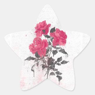 Beautiful trendy vintage watercolors roses star sticker
