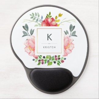Beautiful Trendy Watercolor Peony Flowers Monogram Gel Mouse Pad