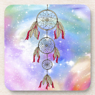 Beautiful trendy whimsical  dream-catcher feathers beverage coaster