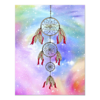 Beautiful trendy whimsical  dream-catcher feathers card