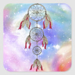 Beautiful trendy whimsical  dream-catcher feathers square sticker
