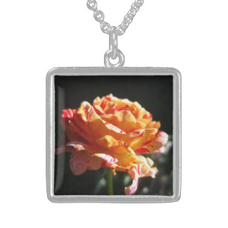 Beautiful Tri-color Rose,Ster. Silver Sq. Necklace Square Pendant Necklace