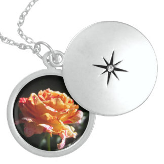Beautiful Tri-Color Rose, Sterling Silver Locket Round Locket Necklace
