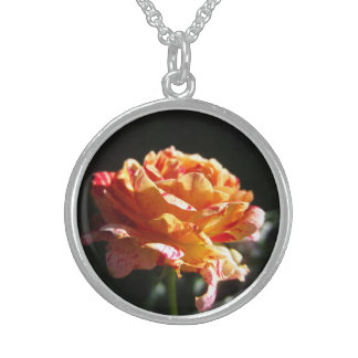 Beautiful Tri-color Rose, Sterling Silver Necklace Round Pendant Necklace