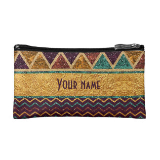 Beautiful Triangles Chevron Faux Glitter Gold Foil Makeup Bag