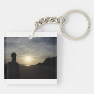 Beautiful Trinidad Beach at Sunset Double-Sided Square Acrylic Keychain