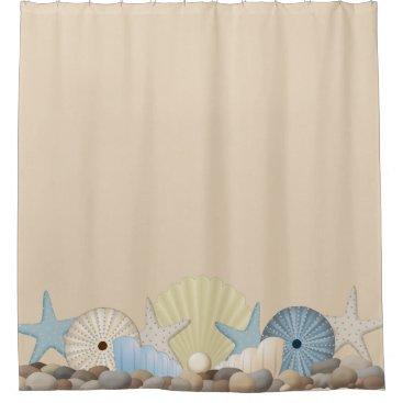Beach Themed Beautiful Tropical Beach Shells on Sand Shower Curtain