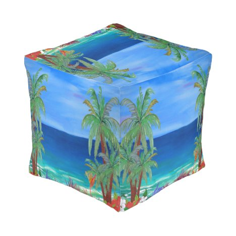 Beautiful tropical floral beach ottoma pouf