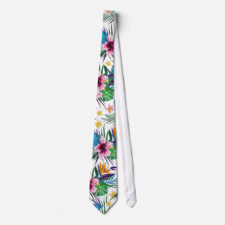 Beautiful tropical floral paint watercolors neck tie