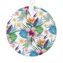 Beautiful tropical floral paint watercolors ornament