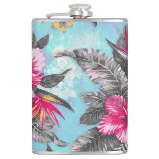 Beautiful tropical floral paint watercolours hip flasks