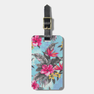 Beautiful tropical floral paint watercolours luggage tag