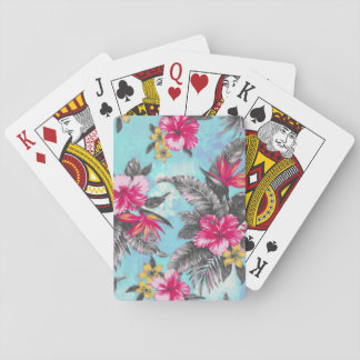 Beautiful tropical floral paint watercolours playing cards